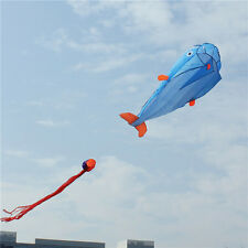 Huge Parafoil Giant Dolphin 3D Kite Frameless Soft Blue 100' line Easy to Fly