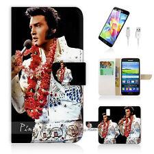 Samsung Galaxy S5 Print Flip Wallet Case Cover! Elvis Presley P0133