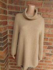 TALBOTS 100% Cashmere Sweater Size M Tunic Cowl Neck Long Sleeve Women Brown