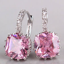 Luxury 18K white gold filled princess pink Swarovski crystal hoop earring