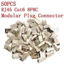 50PCS RJ45 Cat6 8P8C Modular Plug Connector Cap Network Ethernet LAN Metal Head