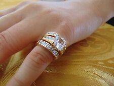 3.50 ct Princess cut 14K Yellow Gold Man Made diamond Engagement Ring 3 piece