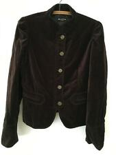 Massimo Dutti Brown Velvet Jacket sz M/L Metal Button Front