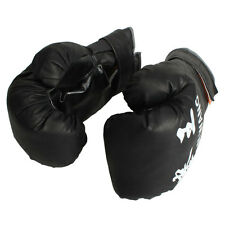 12 OZ BOXING PRACTICE TRAINING GLOVES MMA Sparring Punching Faux Leather Black