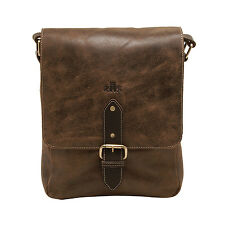 Rowallan - Brown North/South Brushwood Messenger Bag in Distressed Leather