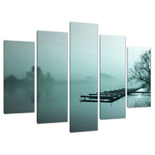 Set of 5 Teal Pictures Canvas Wall Art Landscapes Bedroom Prints 5118