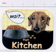 NEW ORIGINAL GREYHOUND DOG PAINTING LAMINATED  KITCHEN DOOR SIGN SUZANNE LE GOOD