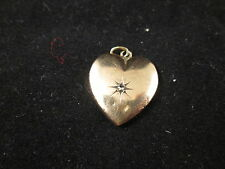 VINTAGE 14K Y/G HEART PENDANT WITH DIAMOND
