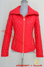 Michael Kors Lightweight Diamond Quilted Down Zip Puffer Jacket Coat S Coral