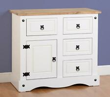 CORONA WHITE AND DISTRESSED WAXED PINE 1 DOOR 4 DRAWER SIDEBOARD CHEST