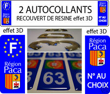 2 STICKERS RECOUVERT DE RESINE PLAQUE IMMATRICULATION REGION PACA VERSION 2