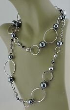 """FASHION NECKLACE SILVER PLATED FACETED GLASS FAUX BLACK PEARL LIA SOPHIA 46"""""""