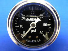 "Marshall Gauge 0-60 psi Fuel Pressure Oil Pressure Black 1.5"" Diameter Liquid"