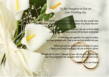 A4 PERSONALISED WELCOME TO THE FAMILY POEM ON YOUR WEDDING DAY FROM INLAWS