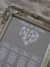 pretty floral heart Wedding Heart table seating plan A2 any cols.