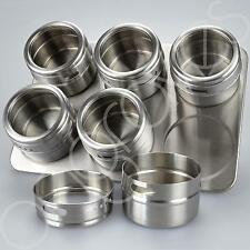 Magnetic Spice Rack Stainless Steel 6 Shake Canisters Stand Kitchen Herbs Tray