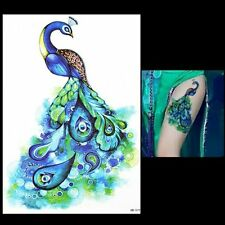 Blue Peacock Eye Feather Tattoo Temporary Stickers Body Art 3D Tattoo Waterproof