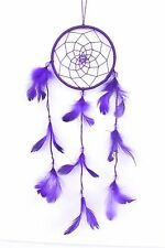 """NEW 3"""" x 10"""" PURPLE DREAM CATCHER HANDMADE WITH STRING FEATHER CAR WALL DECOR"""