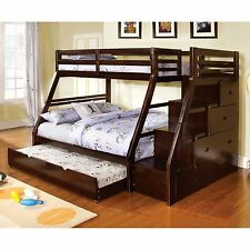 Bunk Beds With Twin Over Full Trundle Stair Storage Drawers Kids Furniture NEW