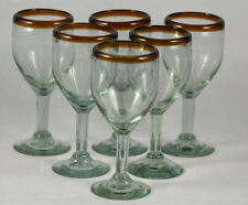 Authentic Mexican Wine Glasses/Goblets Handmade Amber Rim/Bottom Set of 6