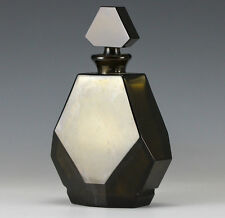 Baccarat Guerlain Art Glass Perfume Bottle Flacon Deep Olive / Umber color 1933
