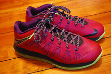 Men's Nike Air Lebron X Low Red Plum Electric Green Sneakers (10) Raspberry