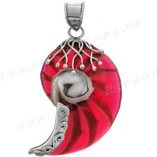 "1 3/4"" COOL DESIGN RED NAUTILUS SHELL 925 STERLING SILVER pendant"