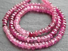 "HAND FACETED PINK RUBELITE TOURMALINE RONDELLES, 3.5mm - 4mm, 13"", 145 beads"