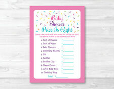 """Pink Baby Sprinkle Printable Baby Shower """"Price is Right!"""" Game Cards"""