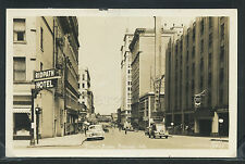 WA Spokane RPPC 1940's STREET Ridpath Hotel CHEVRON GARAGE Depot Ellis No.5405