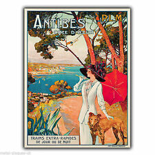 ANTIBES COTE D'AZUR Vintage Retro Advert METAL WALL SIGN PLAQUE poster print