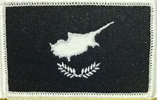 CYPRUS Flag Embroidered Iron-On Patch Black & White Version  #061