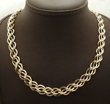 "Unique 18"" Double Interlocked Curb Link Chain Necklace  Real 14K Yellow Gold"