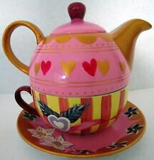 HAND PAINTED COLOURFUL TEA FOR ONE TEAPOT SET WITH PINK HEARTS MOTHER'S DAY GIFT