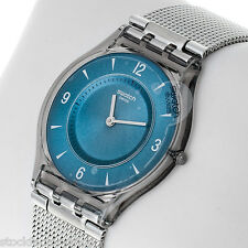 "Swiss Made Swatch Watch Skin/flat Line Unisex Quartz ""METAL KNIT BLUE"" SFM120M"