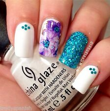 Nail Art Water Decals Wraps Purple White Floral Flowers UV Tips Decoration 1410