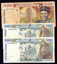 West African States LOT 5000+10000+5000 Francs 1998