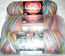 Red Heart SUPER SAVER Yarn Lot of 3 - PRIMARY COLORS