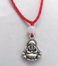 A Red Cord Tibetan Silver Chinese Lucky Buddha Charm Jade Bead Pendant Necklace