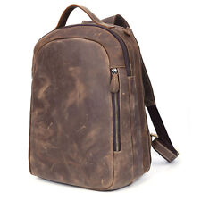 Men's Genuine Leather Laptop School Travel Backpack Camping Notebook Brown Bag