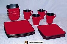 BETTER HOMES & GARDENS RAVE RED 16 PC.  SQUARE    DINNERWARE SET