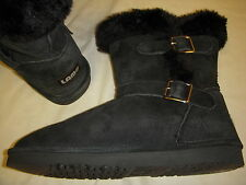 Lamo Cresson Suede Leather Buckle Detail Womens Ankle Boots w/Faux Fur Trim +