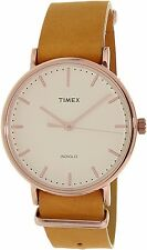 Timex Women's Weekender TW2P91200 Brown Leather Analog Quartz Watch