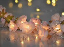 Pink rose flower battery 20 LED string warm white wedding christmas