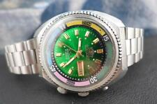 Sporty Jumbo Orient SS Diver's 45 mm Mens Day Date Green Dial Automatic