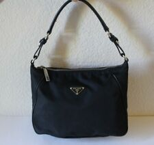 Authentic Prada Nylon Small Shoulder Bag Purse Black Hobo *Inside Looks Amazing!