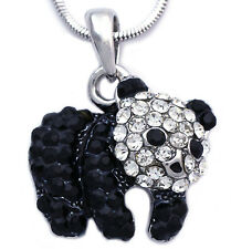 Black Clear Baby Panda Bear Animal Charm Pendant Necklace Fashion Jewelry n2036