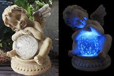 Solarleuchte Engel mit Kristallkugel Blau Solarlampe Grableuchte LED Lampe NEU