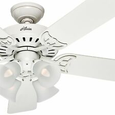 "Hunter 52"" White Ceiling Fan; Reversible Bleach Oak/White Blade with Light Kit"