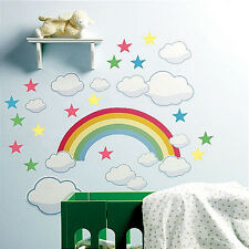 WALLIES RAINBOW wall stickers Mural 42 decals clouds stars nursery bedroom